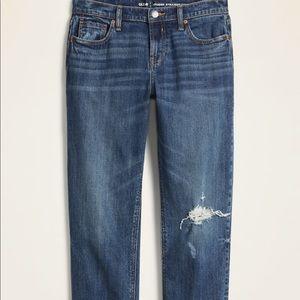 Mid Rise Straight Leg Boyfriend Jeans